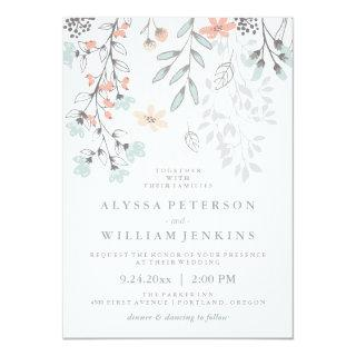 Boho Botanical Rustic Wedding in Coral and Gray Invitation