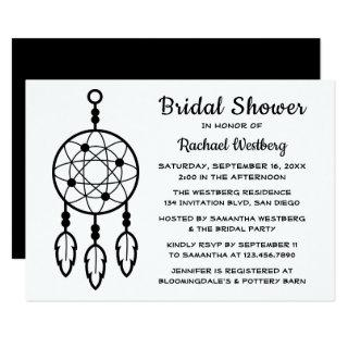 Boho Bridal Shower Dreamcatcher Black White Tribal Invitations