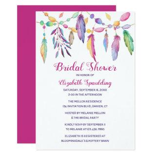 Boho Bridal Shower Feather Indian Purple Southwest Invitation