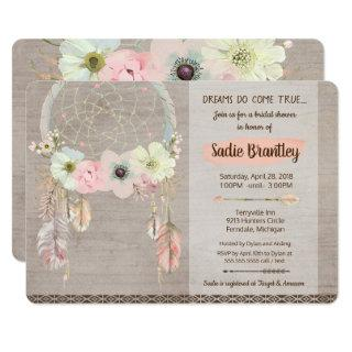 Boho Bridal Shower Invitation, Dreamcatcher Rustic Invitation