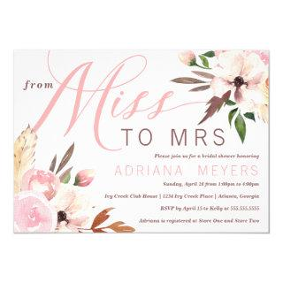 Boho Bridal Shower, Watercolor Floral, Miss to Mrs Invitations