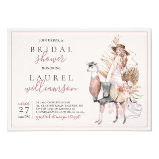 Boho Bride and Formal Llama Bridal Shower Invitation
