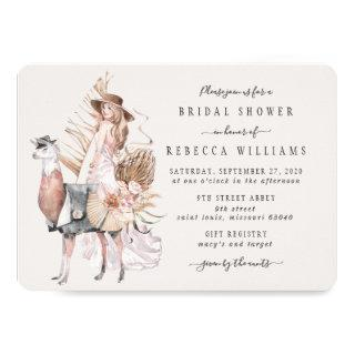 Boho Bride and Llama Bridal Shower Invitations