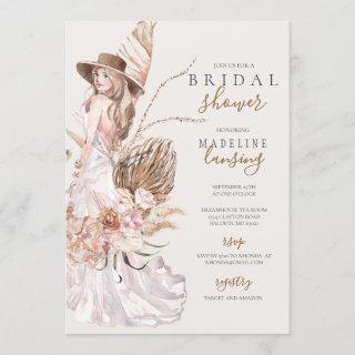 Boho Bride in Wedding Gown Bridal Shower Invitations