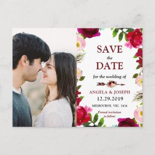 Boho burgundy bohemian wedding save the date announcement postcard