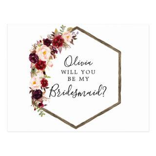 Boho Burgundy Bridesmaid Proposal Card