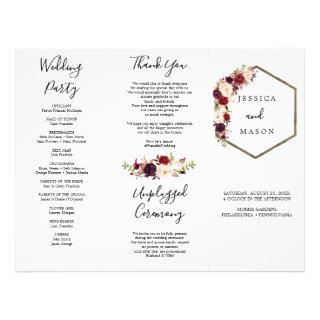 Boho Burgundy Tri-Fold Wedding Program