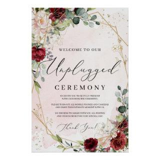 Boho burgundy welcome unplugged ceremony sign