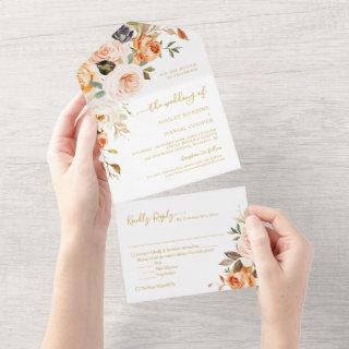Boho Chic Autumn Gold Leaves Floral Wedding All In One Invitations