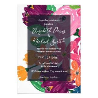 Boho Chic Watercolor Burgundy Pink Flowers Invitation