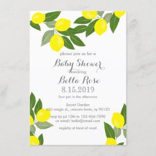 Boho Citrus Lemon Baby Shower Invitations