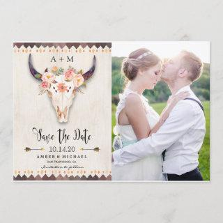 Boho Cow Skull Photo Save The Date
