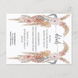 Boho Desert Pampas Grass Floral n Foliage Wedding Invitations