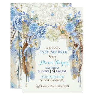 Boho Dream Catcher Feathers Blue Ivory Brown Invitation