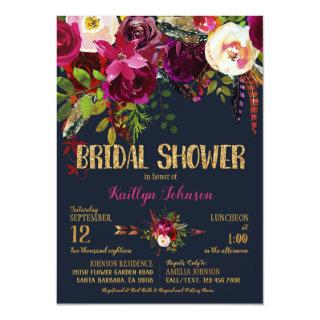 Boho Fall Floral Arrow Bouquet Bridal Shower Invitations