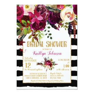Boho Fall Floral Arrow Stripe Bridal Shower Invitations