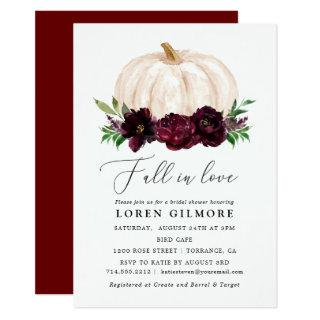 Boho Fall In Love Floral Pumpkin Bridal Shower Invitations