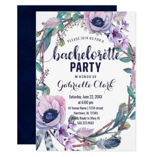 Boho Feather Bachelorette Party Invitations