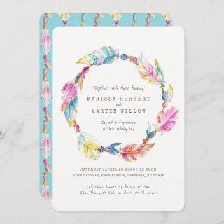 Boho feather beads watercolor wedding invites