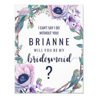 Boho Feather & Floral Will You Be My Bridesmaid Invitations