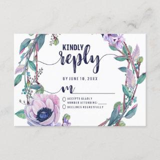 Boho Feather & Floral Wreath Wedding Reply RSVP