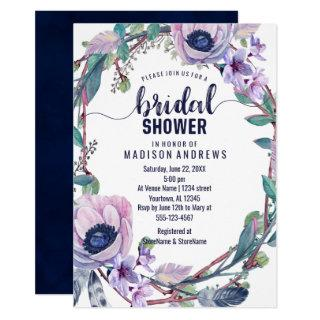Boho Feather Wreath Bridal Shower Invitations