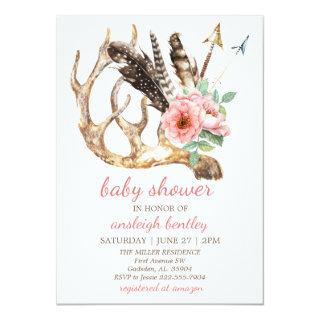 Boho Floral and Antler Baby Shower Invitations