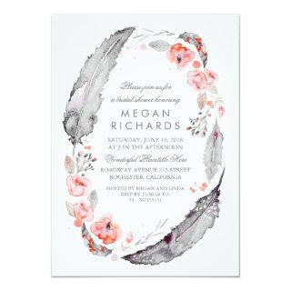 Boho Floral Feathers Vintage Bridal Shower Invitations