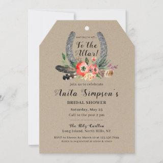 Boho Floral Kraft Lucky Horseshoe Bridal Shower Invitation