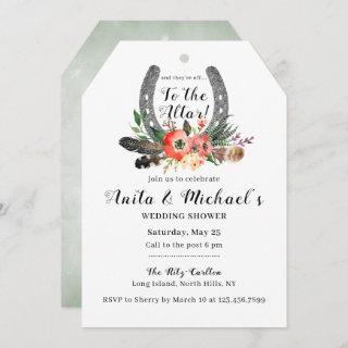 Boho Floral Lucky Horseshoe Wedding Shower Invitations