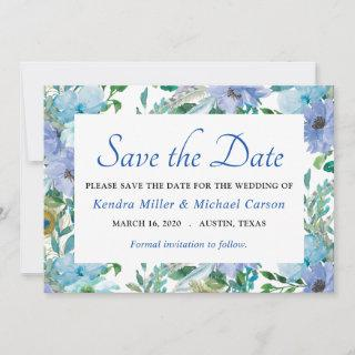 Boho Gorgeous Sapphire Blue Floral Save The Date