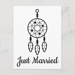 Boho Just Married Wedding Dreamcatcher Tribal Announcement Postcard