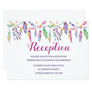 Boho Native American Purple Feather Indian Wedding Invitations