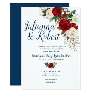 Boho Navy Blue and Burgundy Floral Watercolor Invitations