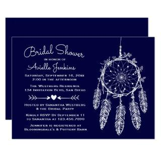 Boho Navy Blue Bridal Shower Dream Catcher Tribal Invitation