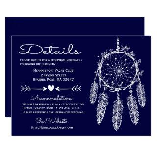 Boho Navy Blue Details Dreamcatcher Tribal Wedding Invitation