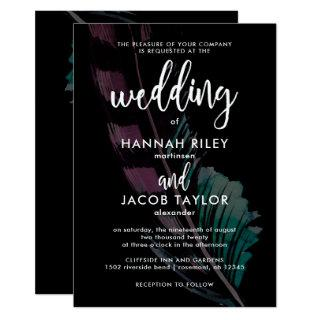 Boho Nights Black with Feathers Wedding Invitations