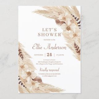 Boho Pampas grass dessert orchid bridal shower Invitation