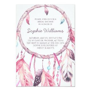 Boho Pink Dreamcatcher Bridal Shower Invitations