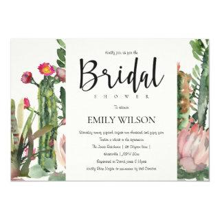 BOHO PINK FLORAL CACTI FOLIAGE BRIDAL SHOWER Invitations