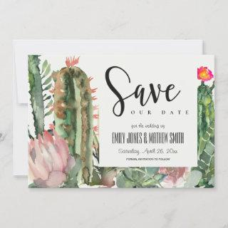 BOHO PINK FLORAL DESERT CACTI FOLIAGE WATERCOLOR SAVE THE DATE