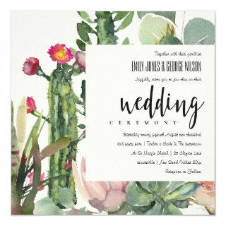 BOHO PINK FLORAL DESERT CACTI FOLIAGE WEDDING INVITATION