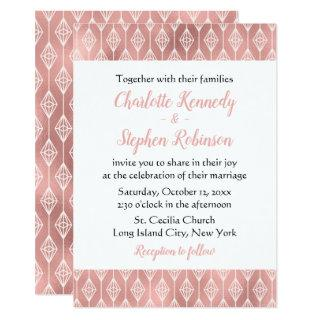 Boho Pink Wedding Rose Gold Tribal Diamonds Invitations