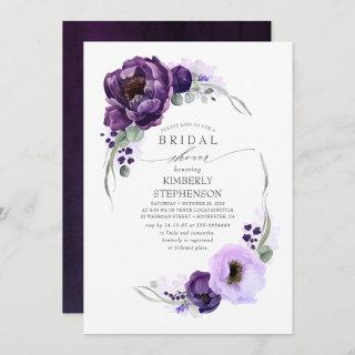 Boho Purple Floral Royal Bridal Shower Invitations
