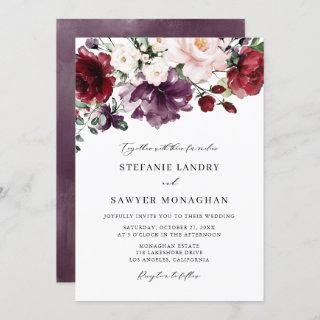 Boho Red and Purple Watercolor Flowers Wedding Invitations