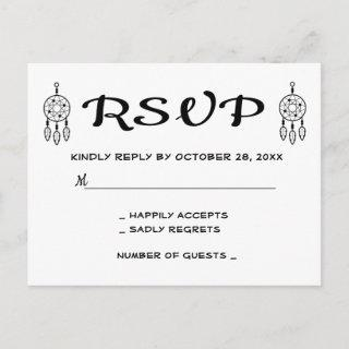 Boho RSVP Dreamcatcher Wedding Black White Invitations Postcard