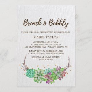 Boho Rustic Mint Floral Succulent Brunch & Bubbly Invitations