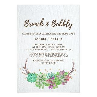 Boho Rustic Mint Floral Succulent Brunch & Bubbly Invitation