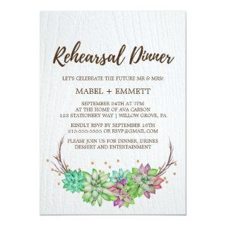 Boho Rustic Mint Floral Succulent Rehearsal Dinner Invitations