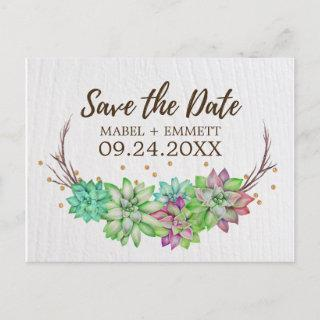 Boho Rustic Mint Floral Succulent Save the Date Announcement Postcard